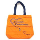 Sacchetto su ordinazione della tela di canapa del Tote di modo delle donne del sacchetto della stampa di marchio di colore del solido 1