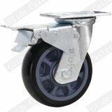 Schwarzes Polyurethan-Rad-industrielle Fußrolle mit Bremse