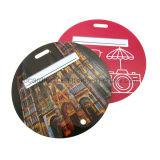 Tag redondo personalizado da bagagem do PVC com ilhó