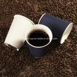 Cuvettes de café chaudes durables de papier de mur d'ondulation de cuvette ondulée