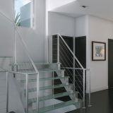 Modèle en forme de L d'intérieur d'escalier d'acier inoxydable avec la semelle en bois
