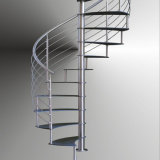 Escalera espiral de interior del diseño moderno con el pasamano de la escalera del acero inoxidable