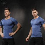Vente en gros faite sur commande de T-shirt de 2017 de polyester de chemise de sport de chemises de gymnastique hommes de sport