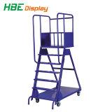 Supermercado ajustable y plegable Carro de la escalerilla de metal