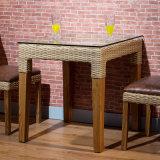 Tabela de jantar A02-7 do vidro Tempered de madeira contínua