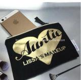 Bolso cosmético de la lona al por mayor de la aduana que viaja para el maquillaje