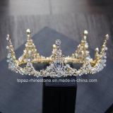 A coroa nupcial personalizada a mais nova de 2018 tiaras barrocas de vidro de cristal do presente da festa de Natal de Stonne do casamento da coroa (BC-09)