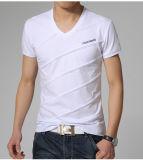 고품질 남자 100%년 면 v 목 t-셔츠를 인쇄하는 관례