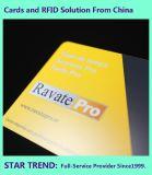 Cartão de plástico com revestimento UV de tarja magnética