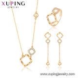 64691 Xuping 18Kの金はセットされた宝石類の中心の鎖をめっきした
