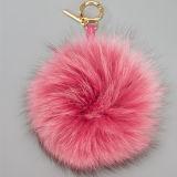 ポンポンのKeychainの毛皮の球のキーホルダーの実質のキツネの毛皮のポンポン
