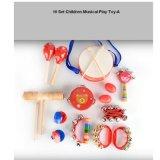 Het houten Speelgoed van de Instrumenten van het Spel van de Tamboerijn van Maracas van de Klok van de Trommel van de Baby Vastgestelde Muzikale