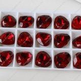 Pujiang Fabrik-Preis und bleifreier handgemachter facettierter Heart-Shaped fantastischer Kristallstein mit Metallgreifer für Schmucksache-Zusatzgerät