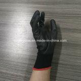 Перчатки обеспеченностью, PU покрыли перчатки нейлона работая, 13G связанные черные перчатки безопасности работы перчаток PU нейлона