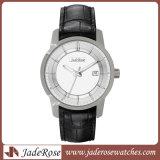 Mann-u. Frauen-Qualitäts-echtes Leder-Edelstahl-Uhr