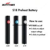 2018 Batterij van de Verstuiver van de Olie van het Embleem van de Douane S18 de Dikke met verwarmt Functie voor