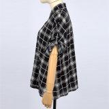 최신 서쪽 디자인 동점을%s 가진 긴 소매 격자 무늬 의류 여자 블라우스