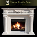 Chimenea de piedra natural tallado en mármol blanco Mantel chimenea rodean