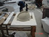 Parti superiori di marmo bianche personalizzate di vanità della stanza da bagno di buona qualità