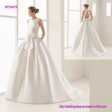 Tradicional uma linha vestido de casamento com bolso lateral, faixa da curva