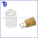 Стеклянную бутылку USB Flash накопитель со стеклянным кувшином USB деревянные пробки