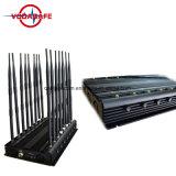 De Alta Potencia ajustable GSM 3G 4G WiFi los Controles Remotos Lojack GPS L1-5 de VHF UHF de China el fabricante, el Jammer con 16 antenas Auto Control remoto