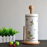 Titular de la toalla de papel tradicional de Rack de bambú