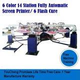 macchina automatica della stampante dello schermo della maglietta 6colors14station