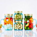 Verre bleu de haute qualité Mason Jar Jar de la poignée de stockage
