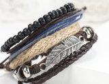 Nuovi monili bordati del braccialetto della stringa della cera tessuti della piuma dell'ala di angelo branelli di legno a più strati