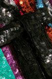 Qualitäts-Anmut Striped Sequined Georgette-Verpackungs-Kleid für Frauen