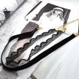 Colar elegante do Choker da Dobro-Camada de veludo do laço da jóia nova quente na moda da forma