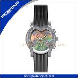 심혼은 고품질 스테인리스 보석 시계 실리콘 악대를 형성했다