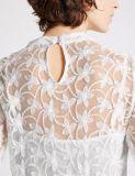 Blusa larga bordada mezcla de la funda del algodón