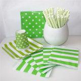 Sac en paille en papier vert et plaque avec différentes conceptions