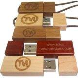 1-128GB容量の円形木USBのフラッシュ駆動機構、普及した木USB