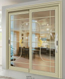 Porte coulissante en aluminium intérieur luxueux avec verre artistique