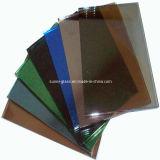 청동, 파랑, 녹색, 회색 색을 칠한 색깔 및 사려깊은 플로트 유리