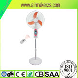 16 Zoll-nachladbarer beweglicher Solarstandplatz-Ventilator mit LED-Lampe