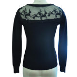 R-Neck Pullover Knitting Sweater mit Lace