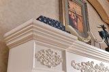 Cheminée en pierre de marbre blanche avec la fleur découpant pour la décoration d'intérieur