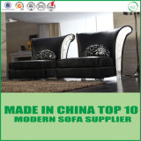 Sofá moderno do couro genuíno da mobília
