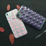 Cajas lindas del teléfono celular de Bling con el modelo de los Amor-Corazones 3D