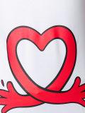 T-shirt blanc d'impression de coeur d'amour de mélange du coton des hommes