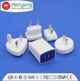 Lader USB van het Af:drukken van het embleem de Witte Dubbele 5V 2.1A met MultiStoppen