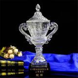 Пожалование трофея чемпионата кристаллический конструкции подарков большой белой ясной прозрачной стеклянной точной кристаллический выгравированное с черным основанием с высоким качеством