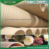 PVC ligero u ondulado de doble pared del tubo de drenaje de aguas servidas fabricado en China