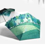 Parasol van Mujer Paraguas van de Paraplu's van de Vrouwen van de Zon/van de Regen van de Vrouwen van de Regen van de Paraplu van de Kunsten van het olieverfschilderij de Vrouwelijke Elegante Ultra Lichte anti-Uv Mini