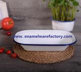 Het hete Aangepaste Botervlootje van het Keukengerei van het Email van de Verkoop Rechthoekige Met Kleur