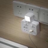 1 a 4 Toma de corriente alemán toma eléctrica de Gaza con USB Y LÁMPARA DE LED